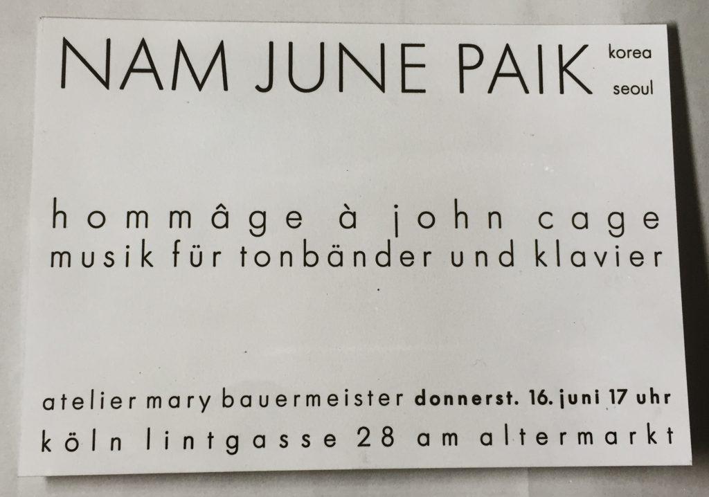 Einladung zu einem Konzert von Nam June Paik im Atelier Bauermeister