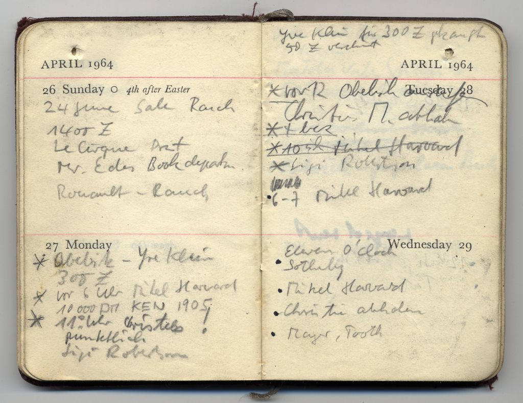 Kasper Königs Taschenkalender, London, 1964. ZADIK